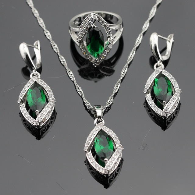 Green Imitated Emerald White CZ Silver Color Jewelry Sets For Women Christmas Gift Earrings/Pendant/Necklace/Rings Free Box