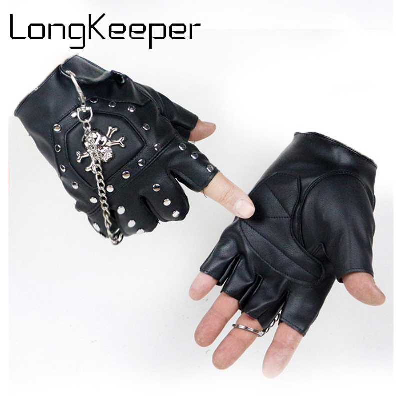 Skull Gloves Leather Gloves Motorcycle cross Racing Half Fingers Gloves Pirate skull riv ...