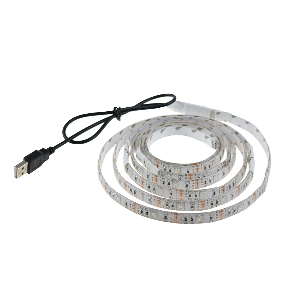 USB 5050 RGB Led Strip with Mini controller 30led/M 50CM 100CM 150CM Waterproof flexible lightfor TV Background Computer Q