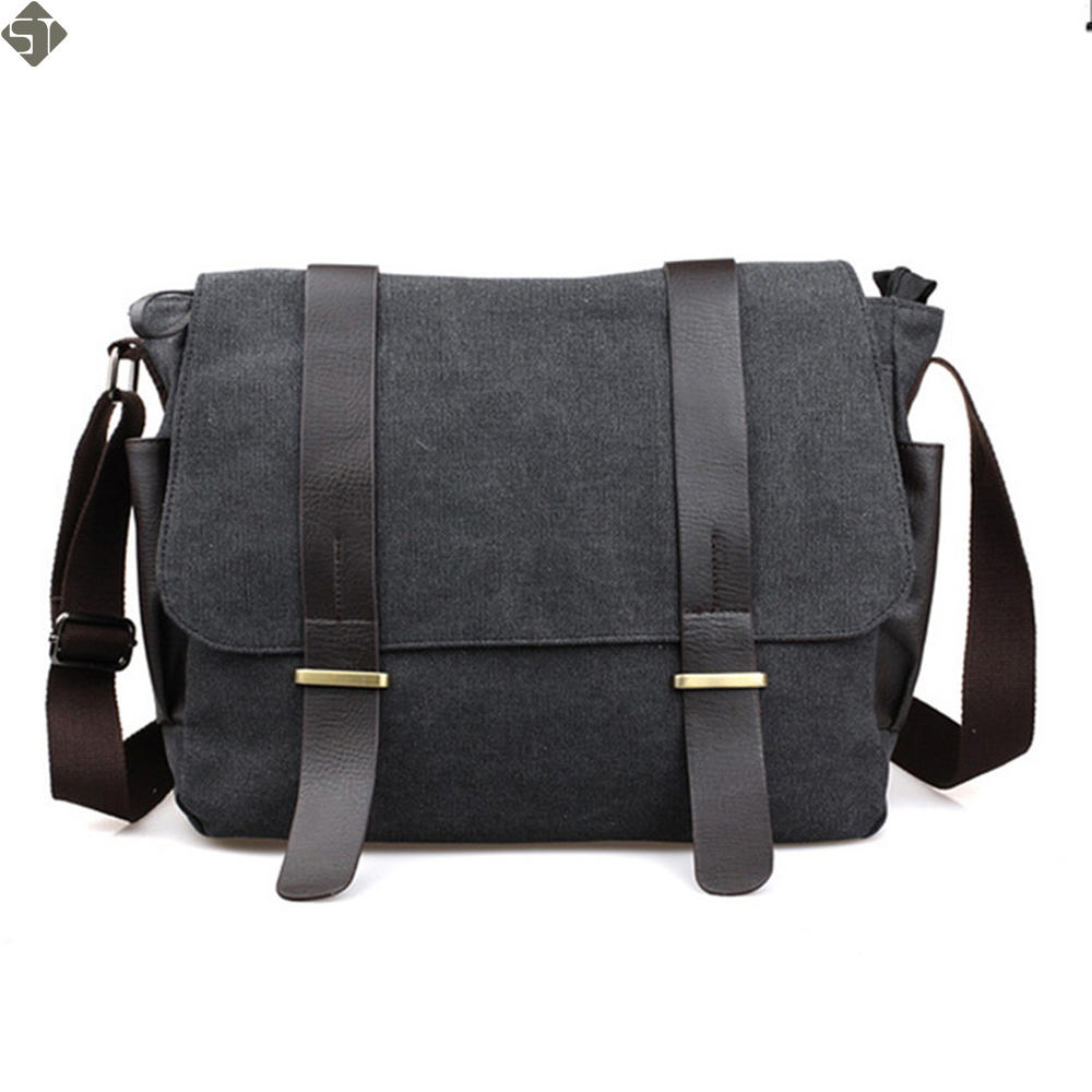 The new 3 color Pockets Messenger Bag Men's Vintage Canvas School Military Shoulder Bag Retro Style Coffee Men's Crossbody Bags retro style two front pockets laptop compartment vintage canvas solid color backpack