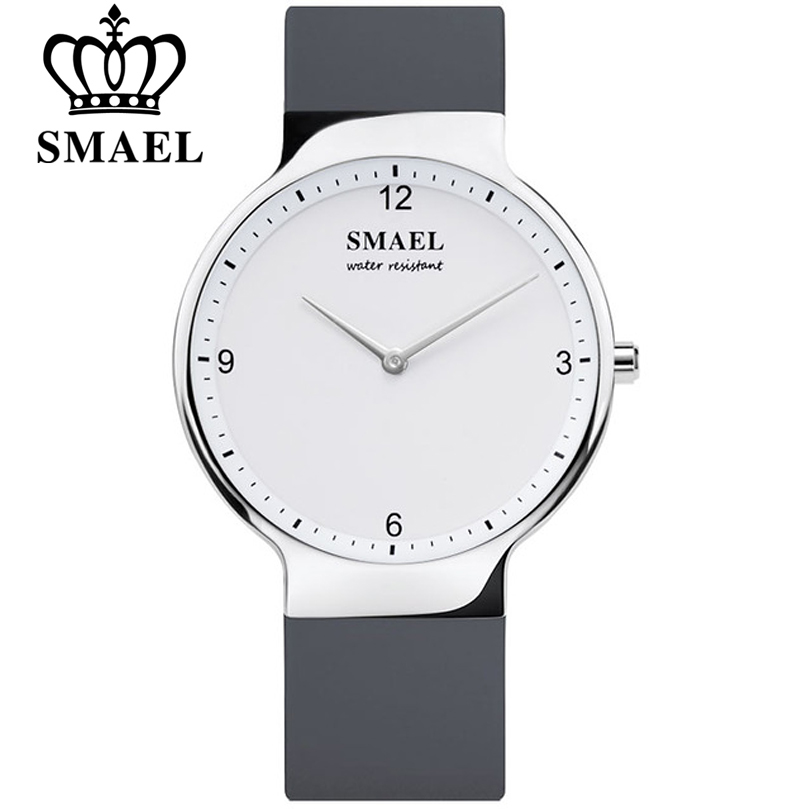 SMAEL Women Dress Watches Luxury Couple Watch Men Date Waterproof Womens  Leather Strap Quartz Analog Silicone Wristwatch Lovers