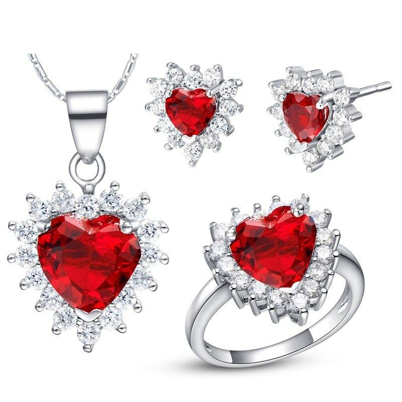Women Gift word Love real Zirconia CZ Queen WGP Plated Zircon Gem Noble Rich Lucky heart red ocean Ring Necklace Earrings Ru