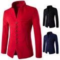 2016 Color 3 Nueva Moda de Invierno Formal Sólido Collar Del Mandarín lana Abrigos de Los Hombres de Un Solo pecho Slim fit Casual Mens Gruesos Blazers