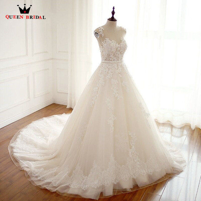 Custom Made 100% Real Photos Formal Wedding Dresses A-line Tulle Lace Elegant Vestidos De Novia Wedding Gowns WD09
