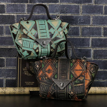REAL GENUINE LEATHER Embossed Tote Bags For Women First Layer Cowhide Lady Top Quality Handbag Hobos Handbags & Crossbody Totes