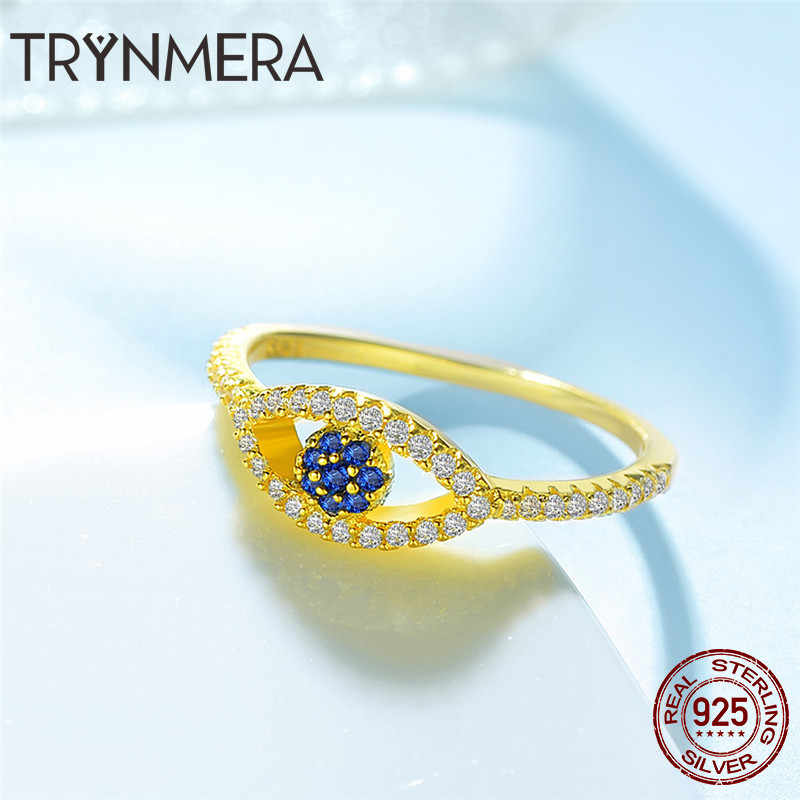 661d9563561ae5 ... Anel Ring 925 Sterling Silver Gold Lucky Evil Eye Eyes Female Ring for  Women Clear CZ ...