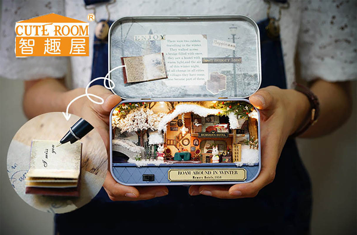 Doll House Diy մանրանկարչություն տաղավար 3D փայտե հանելուկ մինի մանրամասներ Կահույքի տուն Տիկնիկ նվեր Խաղալիքներ-փրփուր շուրջ ձմռանը