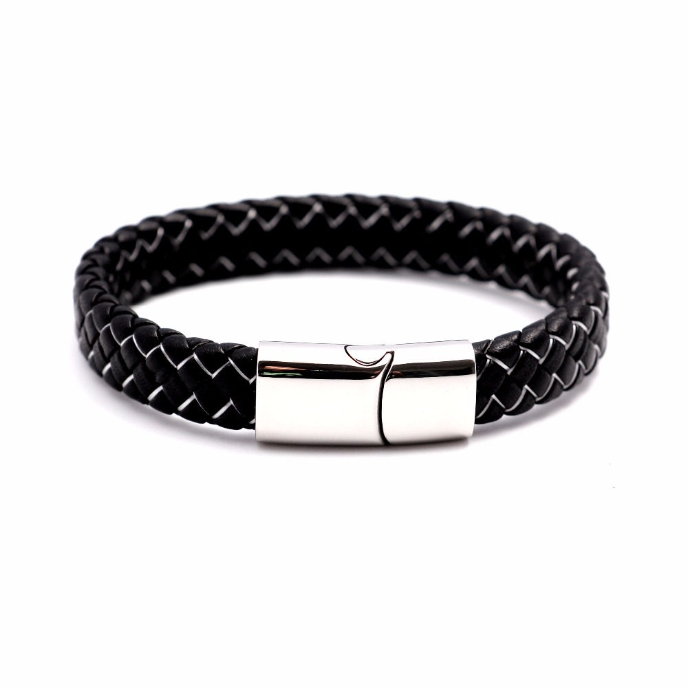 Never Fade 316 Stainless Steel Men Leather Bracelet Jewelry Man Charm Bracelet For Male