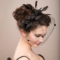 Fashion Bride Hair Bow Hat Wedding Veil Photo Portrait Flower Feather Headdress Hairpin Gauze Cover The