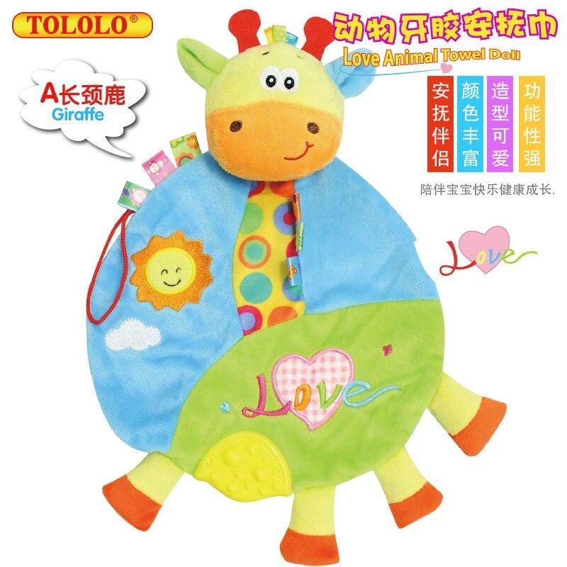 Baby мультфильм животных рук Кукольный резинка соску Прорезыватель Полотенца жевательные плюшевые куклы пальцем игрушки