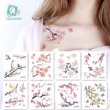 Rocooart Flowers Fake Sakura Tattoo Stickers Chest Taty Waterproof Tatoo Brid Cherry Blossom tree For Women Body