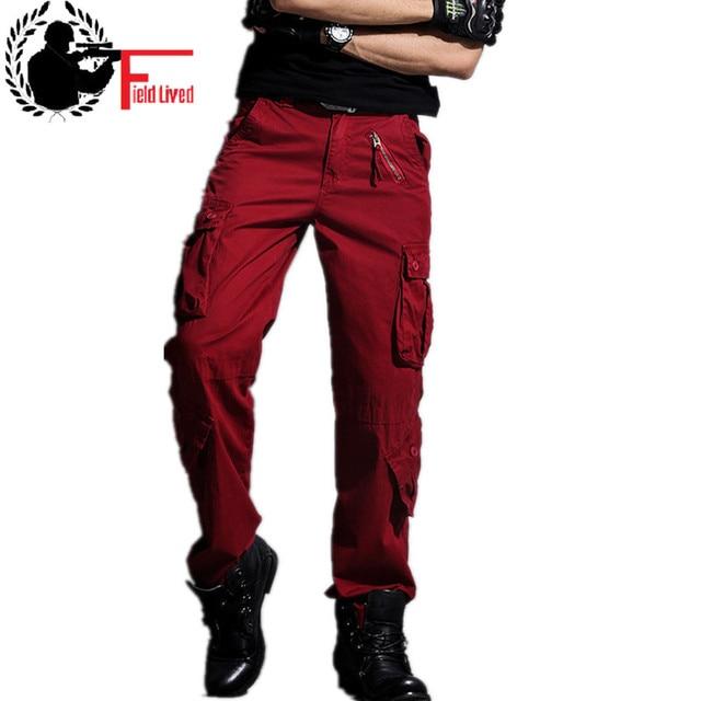 67de784b Армейские брюки с карманами 2019 брендовые Свободные Комбинезоны мужские  брюки повседневные брюки мужские хаки красный зеленый