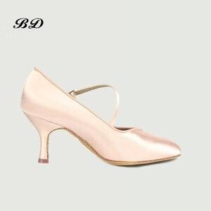 Image 3 - 소녀 운동화 댄스 신발 볼룸 여성 라틴 신발 현대 재즈 수입 새틴 내마 모성 단독 BD 138 편안한 샤인
