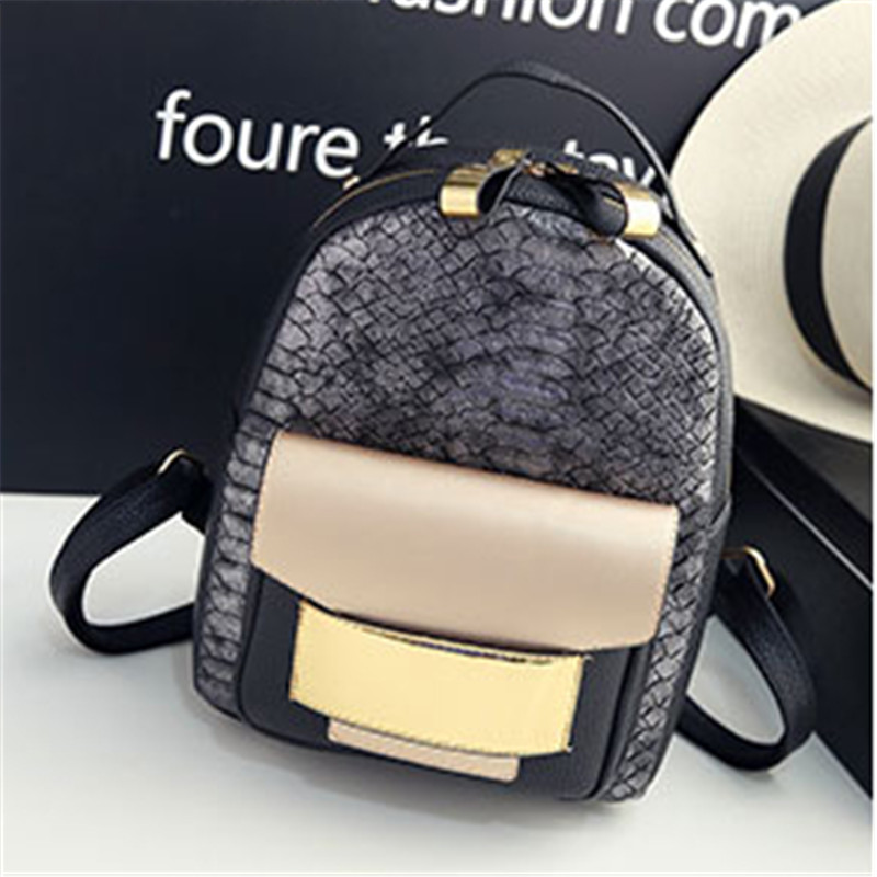 2018 New Fashion PU Leather Women Backpack Lady High Quality Casual Vintage Rucksack Girls Leisure Snakeskin Pattern School Bag
