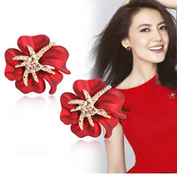 Güzel takı kırmızı çiçek denizyıldızı emaye saplama küpe/kore kadınlar düğün aksesuarları/brincos/buklet d' oreille/bijoux femme