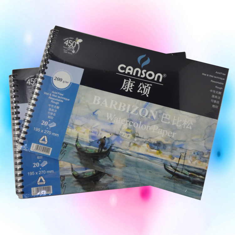ФОТО 20Pcs 8K France Canson Watercolor Paper For Water Color 200g Rough Reworkable Watercolor Book To Draw Blank Spiral Art Paper New