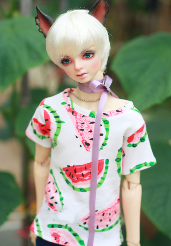 BJD doll clothes white T-shirt with watermelon printing for 1/3 1/4 BJD DD SD MSD SD17 Uncle doll size doll clothes fashion red white turtleneck sweater for bjd 1 3 sd17 uncle doll clothes accessories