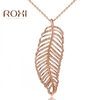 Hot Sell New Fashion Vintage Big Leaf Pendant Necklace For Women Wholesale Rose Gold Plated