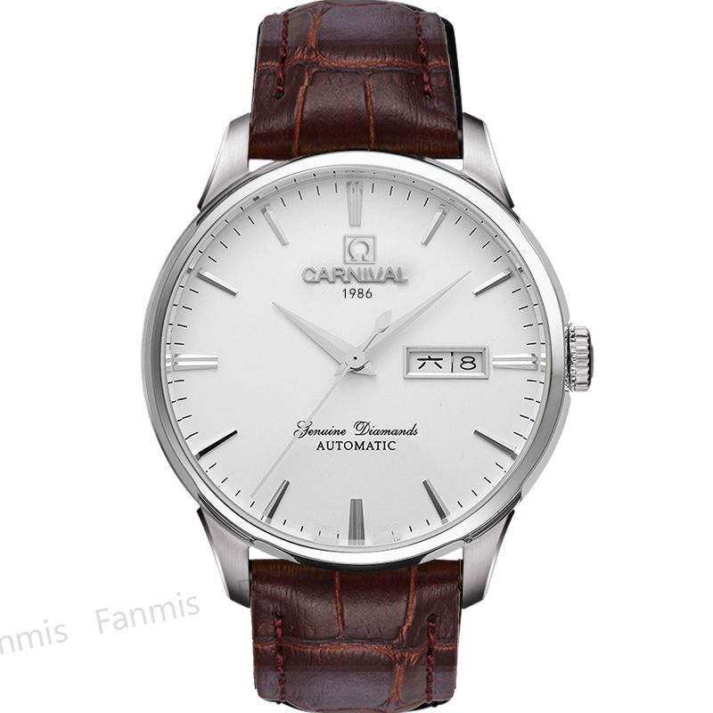 Luxury carnival mechanial watch men classic leather strap day date luminescence japan miyota 25 for Luminescence watches