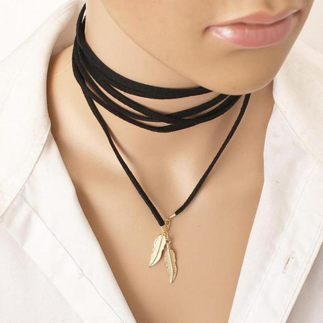 Black Leather Leaf Stylish Fashion Long Necklace Necklace Women Tube Fake Scarf Necklace Women Necklace
