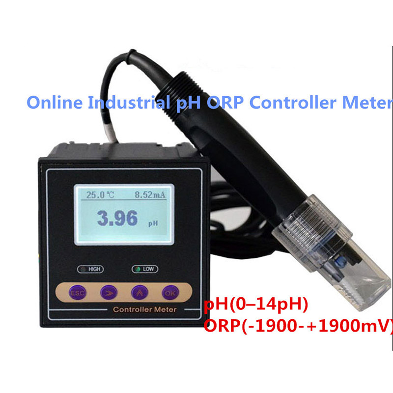 PH-110 Online Industrial pH ORP Controller Tester Meter Monitor pH(0-14 pH) ORP(-1900-+1900 mV) ph 099 waterproof ph orp temperature meter tester