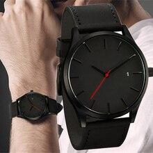 Мужские кварцевые часы Relogio Masculino, военные спортивные наручные часы с кожаным ремешком, мужские часы с полным календарем, мужские часы Saati
