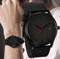 2019 Homens Relógio de Quartzo Relogio masculino Militar Esporte relógio de Pulso de Couro Strap Mens Reloj Calendário Completo Relógios Saati Homme