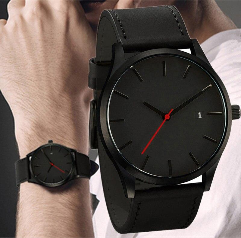 2019 hommes montre à Quartz Relogio Masculino montre-bracelet de Sport militaire bracelet en cuir hommes Reloj calendrier complet montres Homme Saati