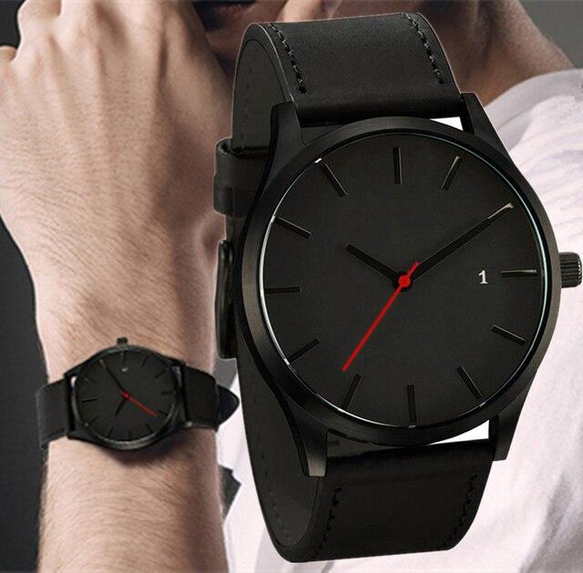 date de sortie: 27ec7 8ccfa Relogio Masculino 2019 hommes montre à Quartz montre-bracelet de Sport  militaire bracelet en cuir hommes Reloj calendrier complet montres Homme  Saati