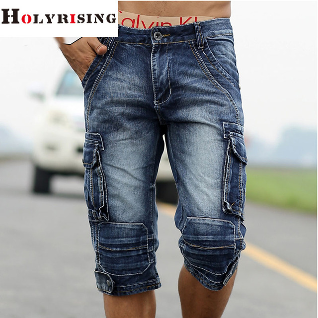 Populaire men cargo shorts bermuda homme male fashion shorts Washed denim  XQ35