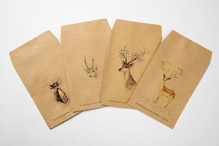 12pcs/Set Cute Deer Paper Envelope 4 Designs Mini Envelopes Vintage Style For Gift Korean Stationery