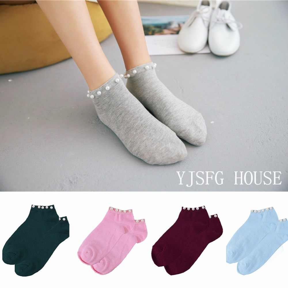 2019 New Style Casual Ladies Short Lovely Fake Pearl Socks Ladies Bead Hosiery Candy Color Socks Hot Sale Women's Cotton Socks