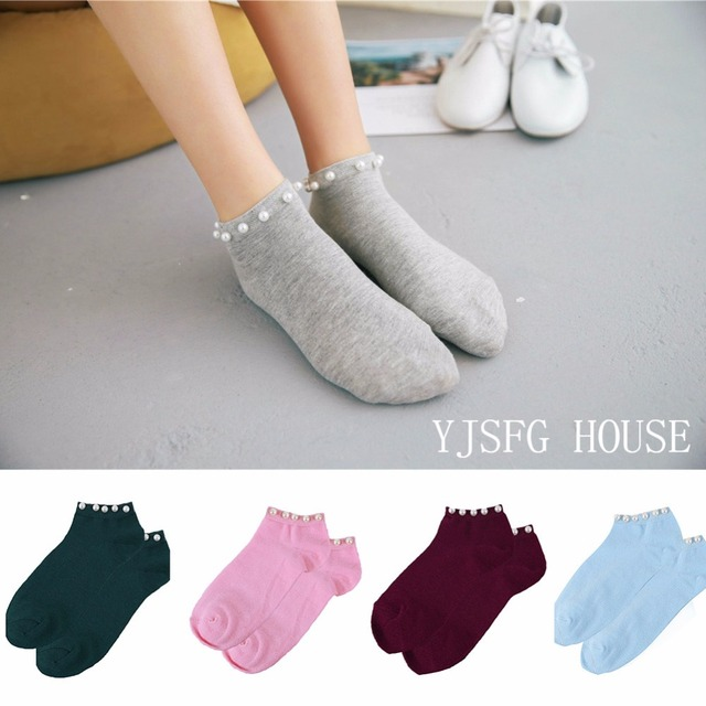14fe3e76c 2019 New Style Casual Ladies Girl Short Socks Lovely Fake Pearl Socks Bead  Sox Hosiery Candy Color Socks Hot Sale Women s Cotton