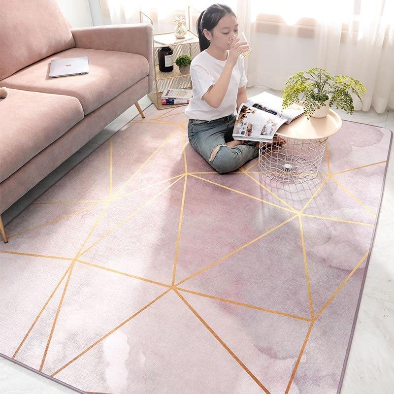Nordique ins style moderne carré salon tapis Chenille sans poils maison chambre chevet tapis antidérapant tapis personnaliser tapis de sol