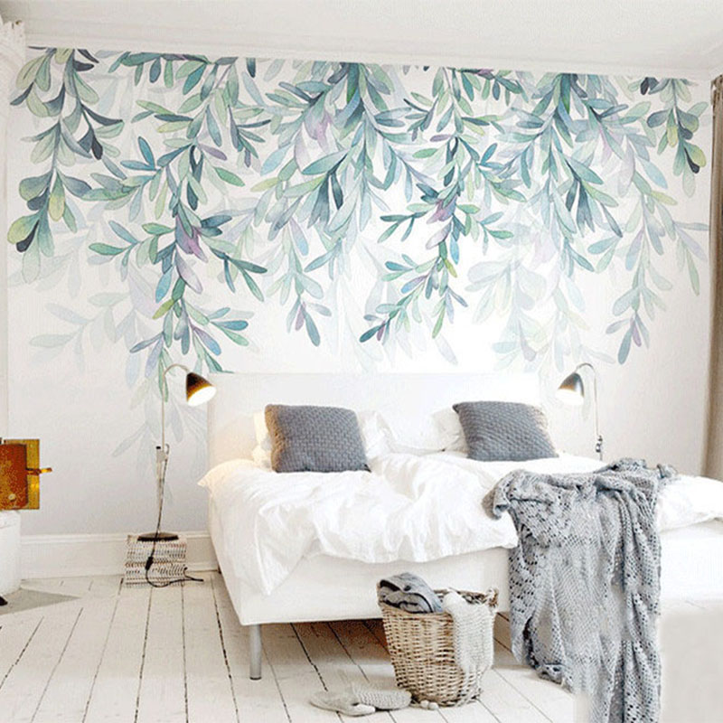 Custom Photo Wallpaper Modern Green Leaves Watercolor Nordic Style Mural Wall Paper Living