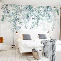 Papier peint Photo personnalisé moderne vert feuilles aquarelle Style nordique Mural papier peint salon TV chambre 3D fresque décor à la maison