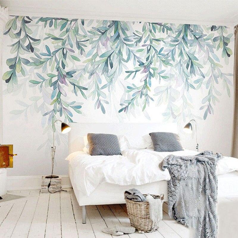 Sob encomenda Da Foto Papel De Parede Folhas Verdes Aquarela Estilo Nórdico Moderno Mural Papel de Parede Sala TV Quarto 3D Fresco Home Decor