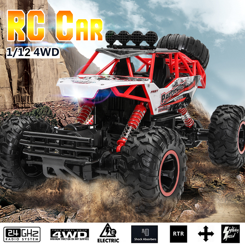 1/12 4WD RC Cars 2.4G Radio Remote Control RC Racing Off Road Crawler Toys Buggy High speed Trucks Gift for Children Kid high speed 4wd 1 24 40km h 2 4g 5 monster trucks with remote control off road motorcycle outdoor rc car for children toys gift