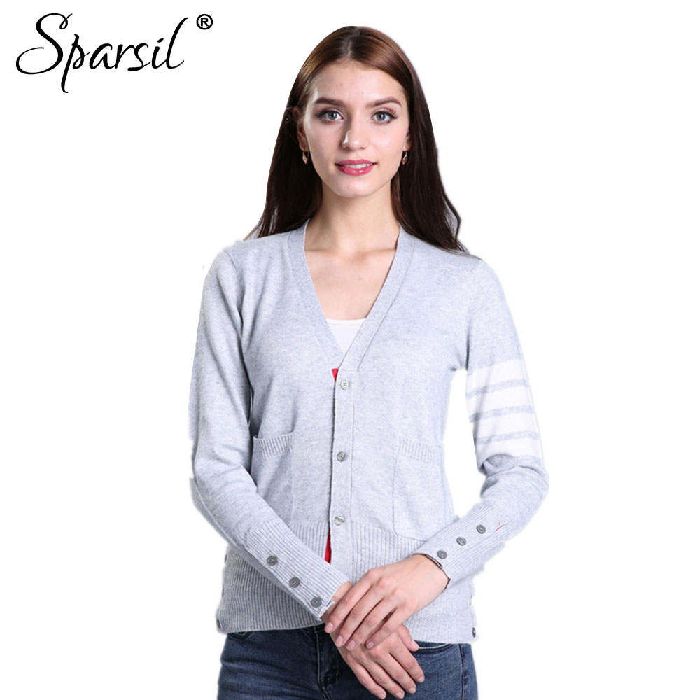 Sparsil Women Autumn&Spring Cashmere Thin Cardigan Sweater Classic ...
