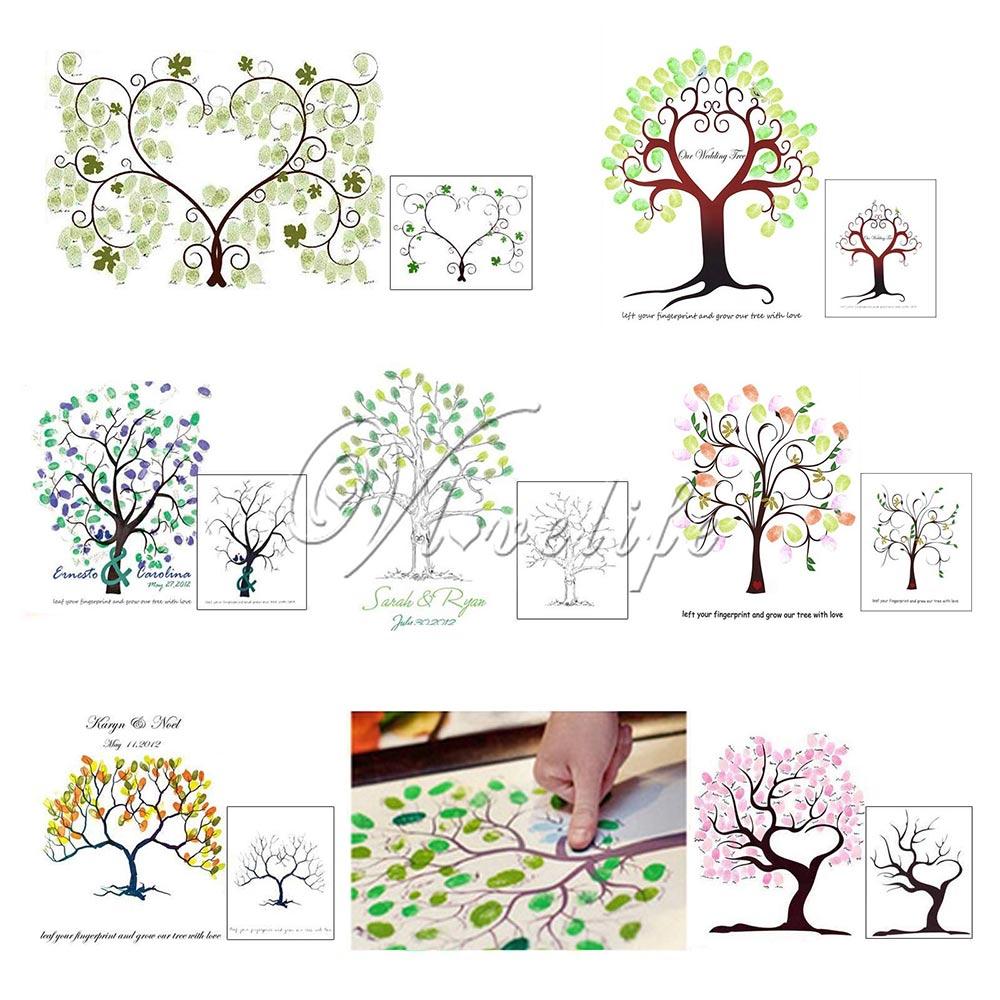 Wedding Guestbook Thumprint Tree Canvas A Great Wedding: Unique Wedding Fingerprint Trees Guest Book 30x40cm Canvas