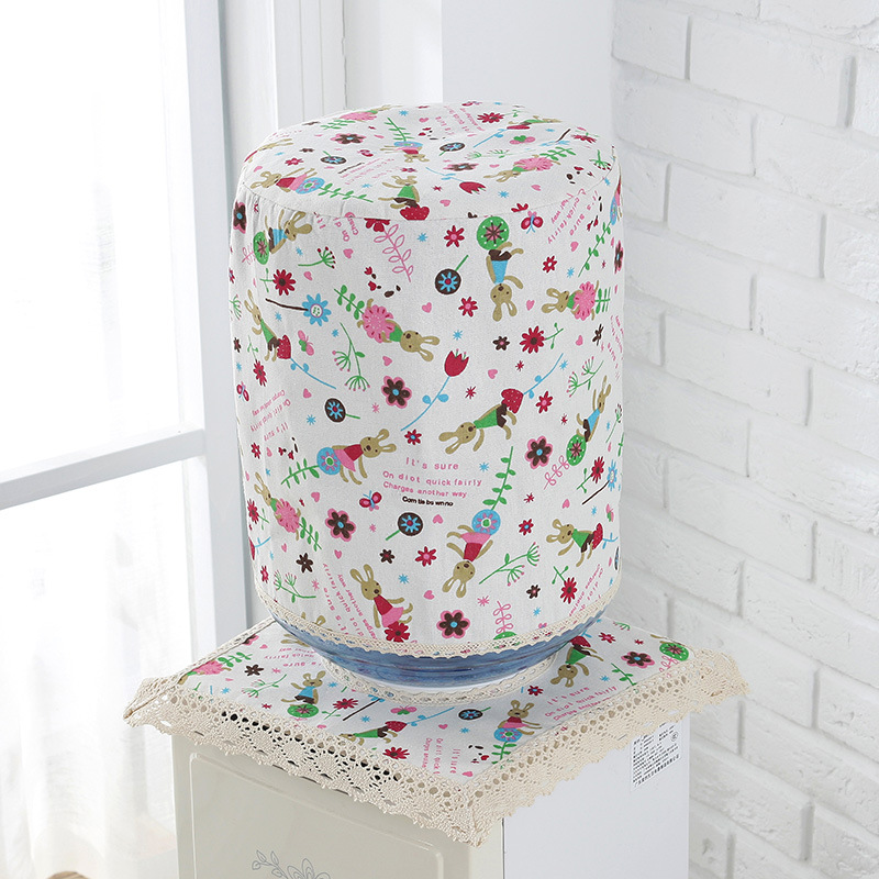 2 PCS/Set Water Dispenser Covers Drinking Fountain Machine Dust Cotton Linen Jacket Protector Dustproof Buket Cloth Protection