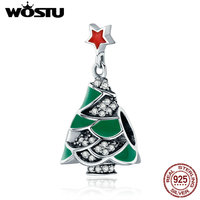 WOSTU New 925 Sterling Silver Charming Green Christmas Tree Beads Fit WST Charm Bracelets For Women