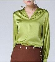 High End шелк рубашке из 2018 шелка и Европейская мода v образным вырезом Зеленый с длинными рукавами Блузка с свободная рубашка в шоу