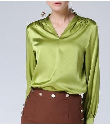 L' high-end shirtsleeves seta di 2018 seta e European fashion con scollo a v camicia verde a maniche lunghe camicetta con un sciolto nel shou