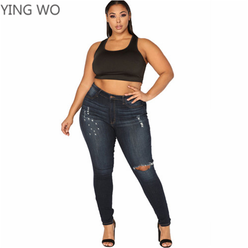 9ca6269adfd ... 2018 New Spring Fashion Woman Plus Size Denim Jeans L 5XL Big Ladies  Middle Waistline Bleached ...