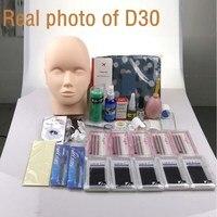 Pro Training Eyelashes kit False Eyelash Extension Grafting Practice Curl Glue Tweezer Tools Set Bag For Eye Lash Graft bag mink