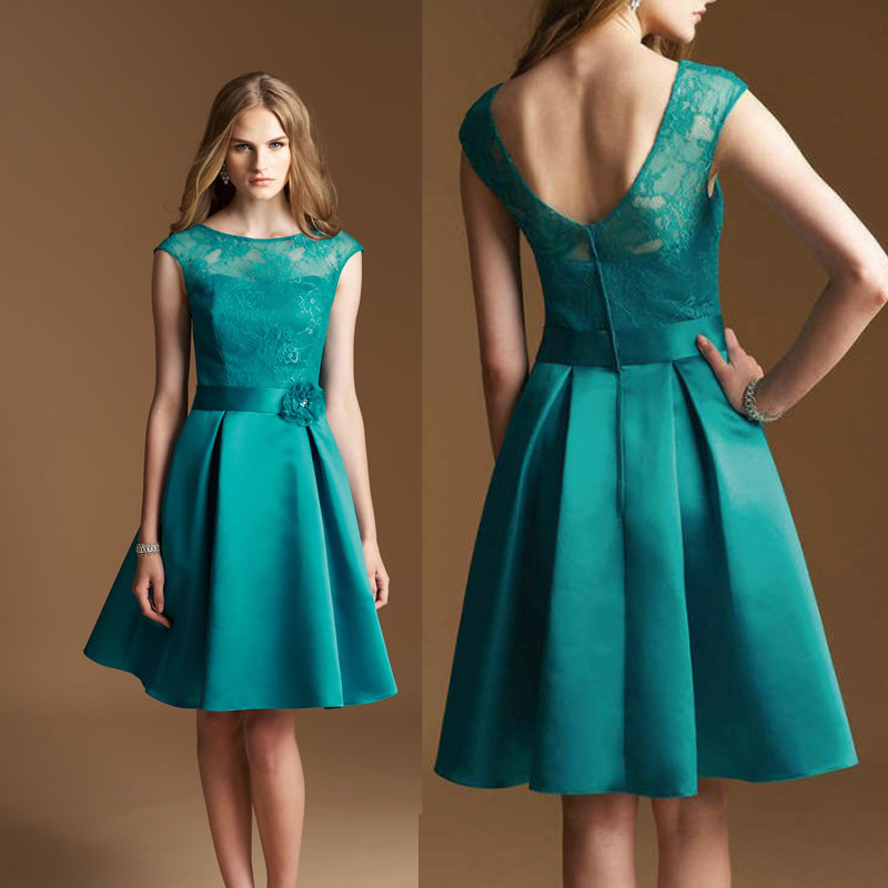 Boat Neck Low Back Teal Knee Length Satin A-line Lace Illusion Neckline Cap Sleeve   Bridesmaid     Dresses   Free Shipping New Fashion