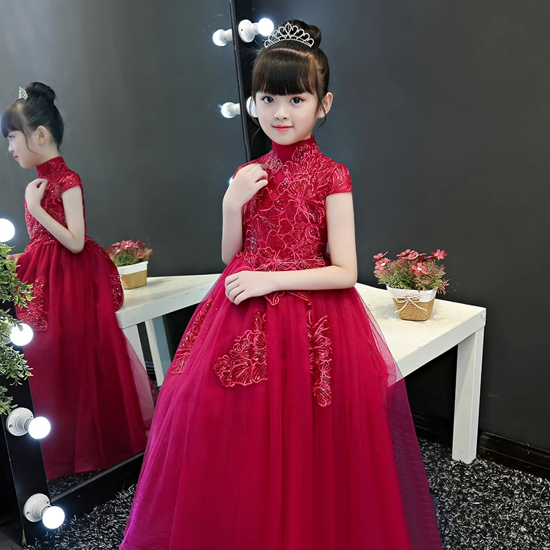 2018 Children Girls Elegant Red Color High Quality Birthday Wedding Party Ball Gown Dress Kids Teens Host Pageant Mesh Dress new high quality children girls red color shoulderless princess dress kids birthday wedding party mesh dress school player dress