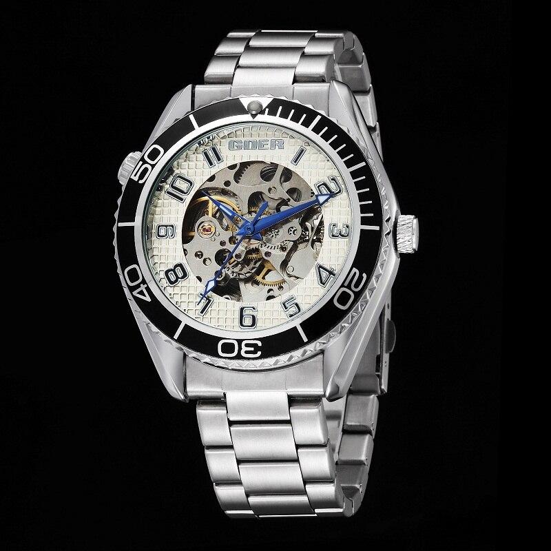 GOER brand Fashion men s watches Machinery automatic Waterproof wrist watch Luminous digital Skeleton stainless steel
