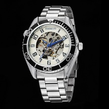 ПОСЕТИТЕЛЬ модного бренда мужские часы Машины автоматические Водонепроницаемые наручные часы Световой цифровой Скелет из нержавеющей стали движение